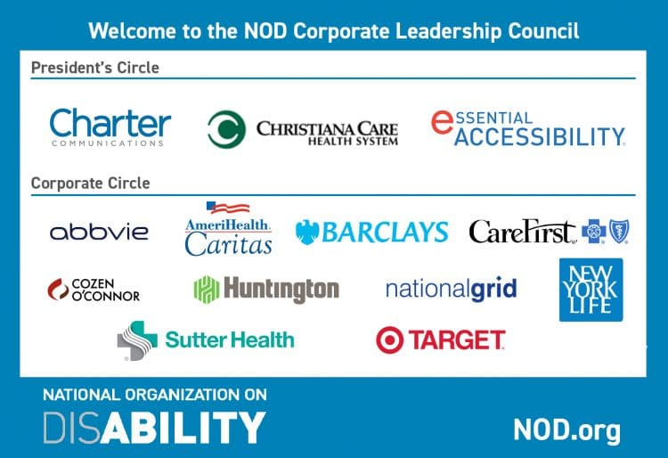 "White text on blue background reads: ""Welcome to the NOD Corporate Leadership Council."" New member logos appear on white background. NOD logo at bottom left. NOD.org at bottom right."