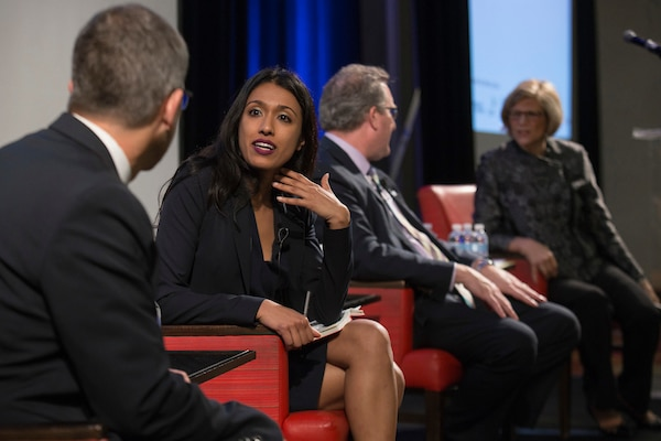 """Plenary Session: Beyond the """"Mental Health Day"""" Welcoming Employees with Mental Health Disabilities: Anupa Iyer, EEOC, in conversation with Andy Imparato, AUCD; Dr. Don Mordecai, Kaiser Permanente; and Carol Glazer, NOD."""