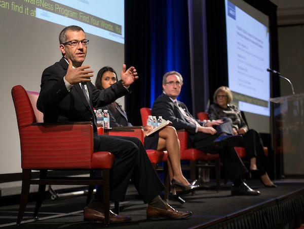 "Plenary Session: Beyond the ""Mental Health Day"" Welcoming Employees with Mental Health Disabilities: Dr. Don Mordecai, Kaiser Permanente; Anupa Iyer, EEOC; Andy Imparato, AUCD; and Carol Glazer, NOD."