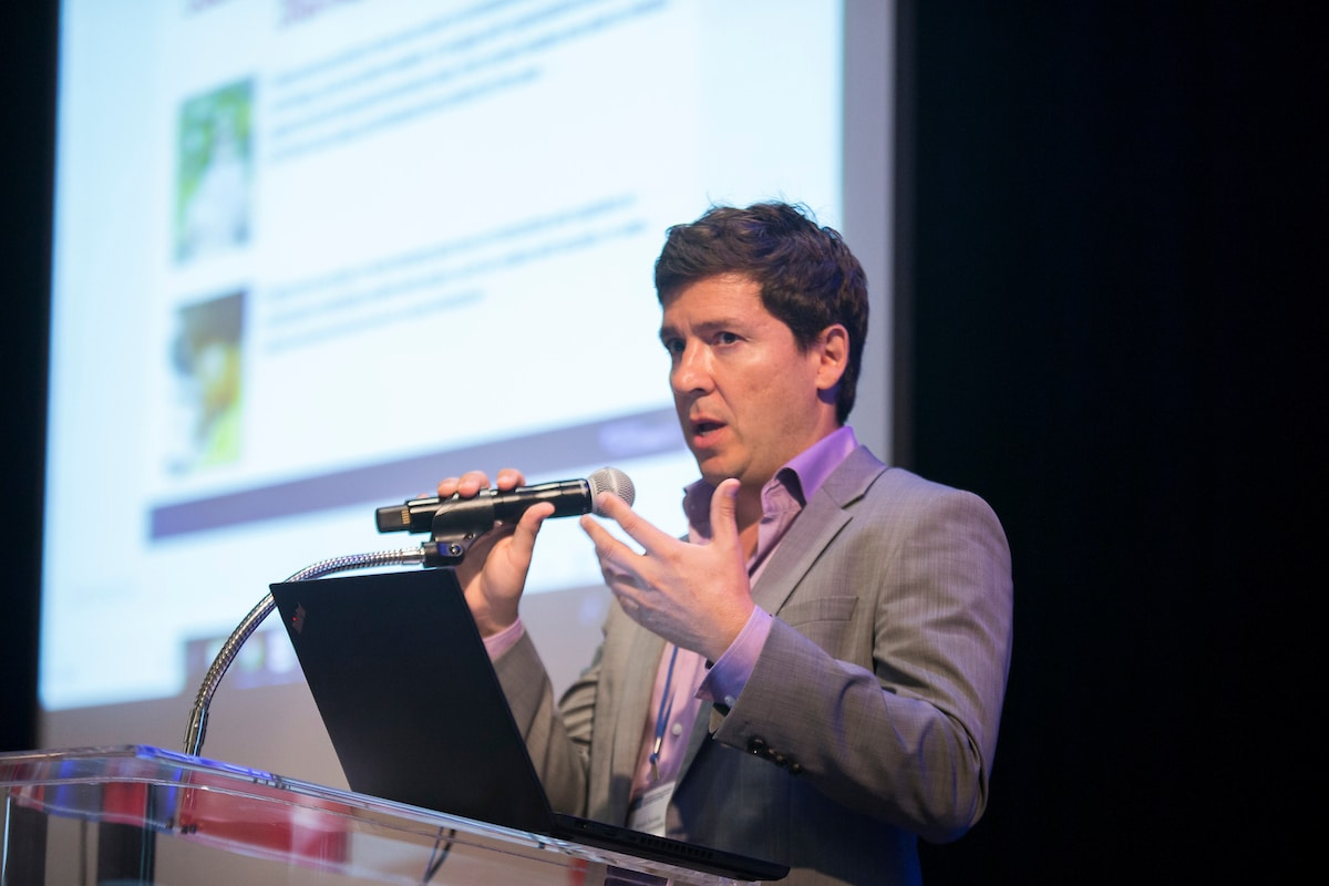 eSSENTIAL Accessibility's Simon Dermer presenting on accessibility and the digital environment