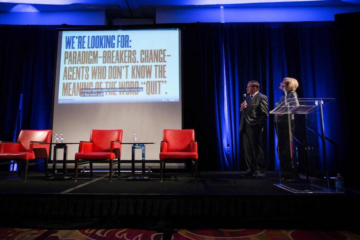 Gov. Tom Ridge and NOD President Carol Glazer introducing a sneak peak video for NOD's #LookCloser campaign