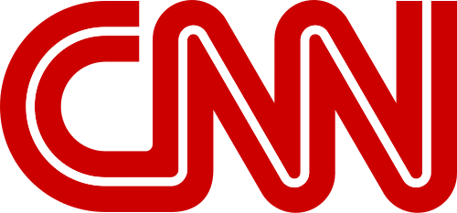 Red lettering spelling CNN on white background