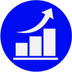 Icon of a graph with a rising arrow