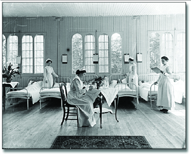 Black and white photograph of a state hospital for people with disabilities.