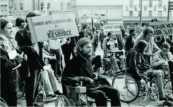Photograph of disability rights protesters.