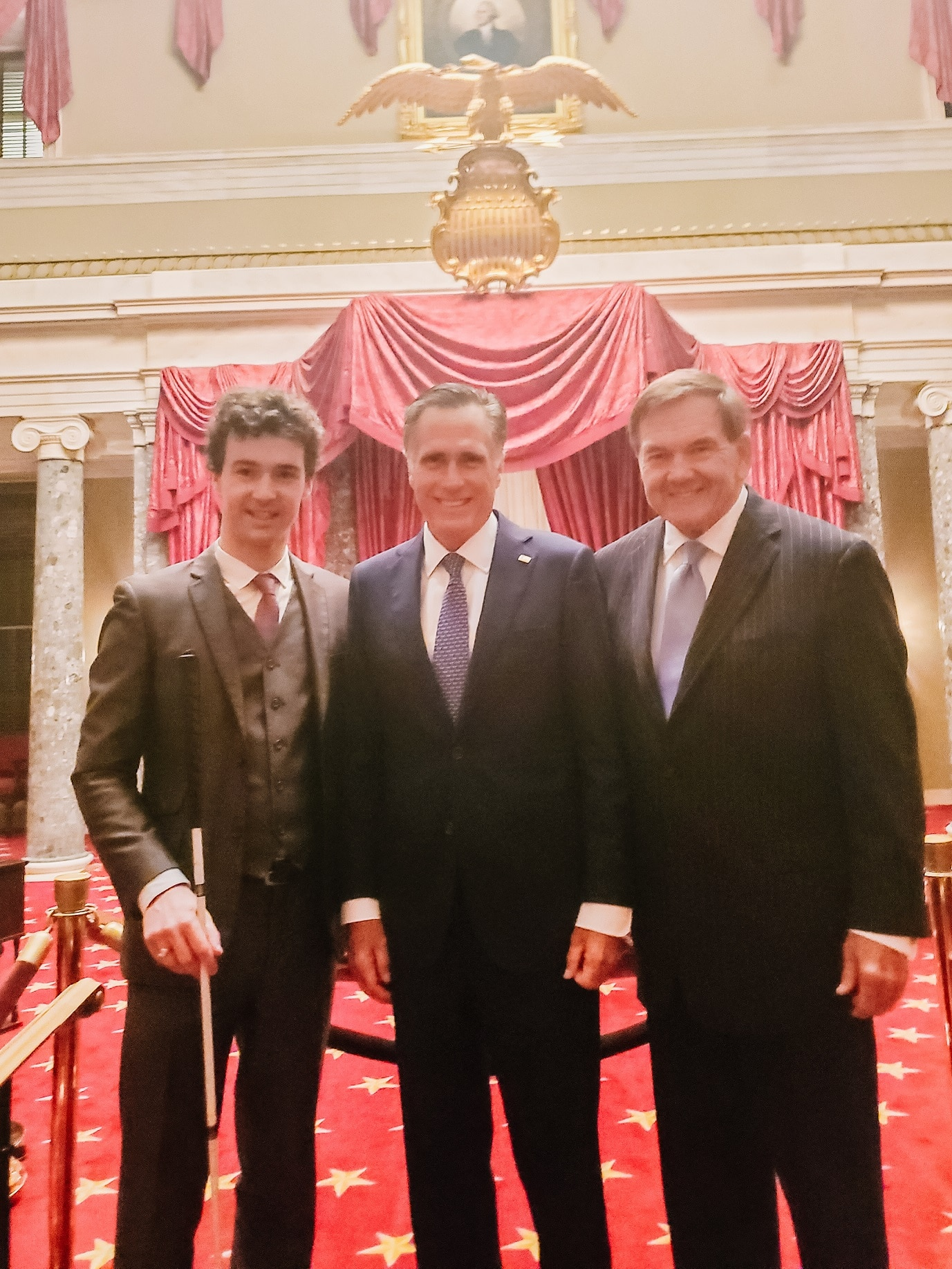 From left: Charles, Sen. Romney and Gov. Ridge