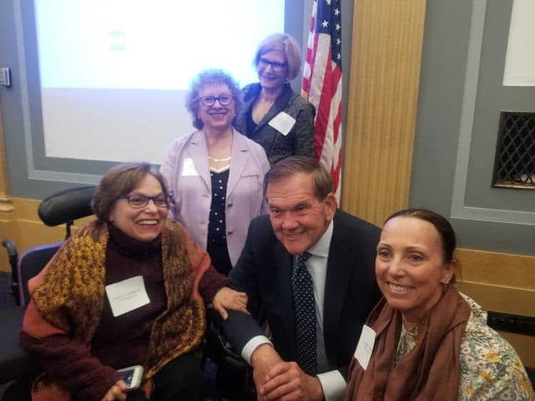 Judy Heumann, Joyce Bender, Carol Glazer, Gov. Tom Ridge and Candace Cable