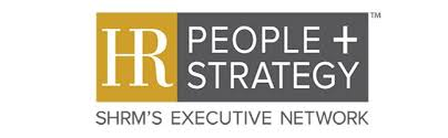 "HR People + Strategy logo with white text on gold and dark gray background. Subtitle reads: ""SHRM's Executive Network"""
