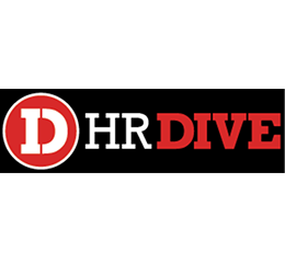 HR DIve logo in white and red text on black background