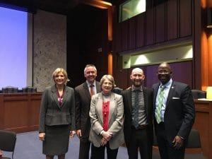 Left to Right: Carol Glazer; Bill Murray, Director of Field Operations, Veterans' Employment and Training Services, U.S. DOL; Susan Prokop, Master Sergeant Herrick Ross, (retired), Starbucks
