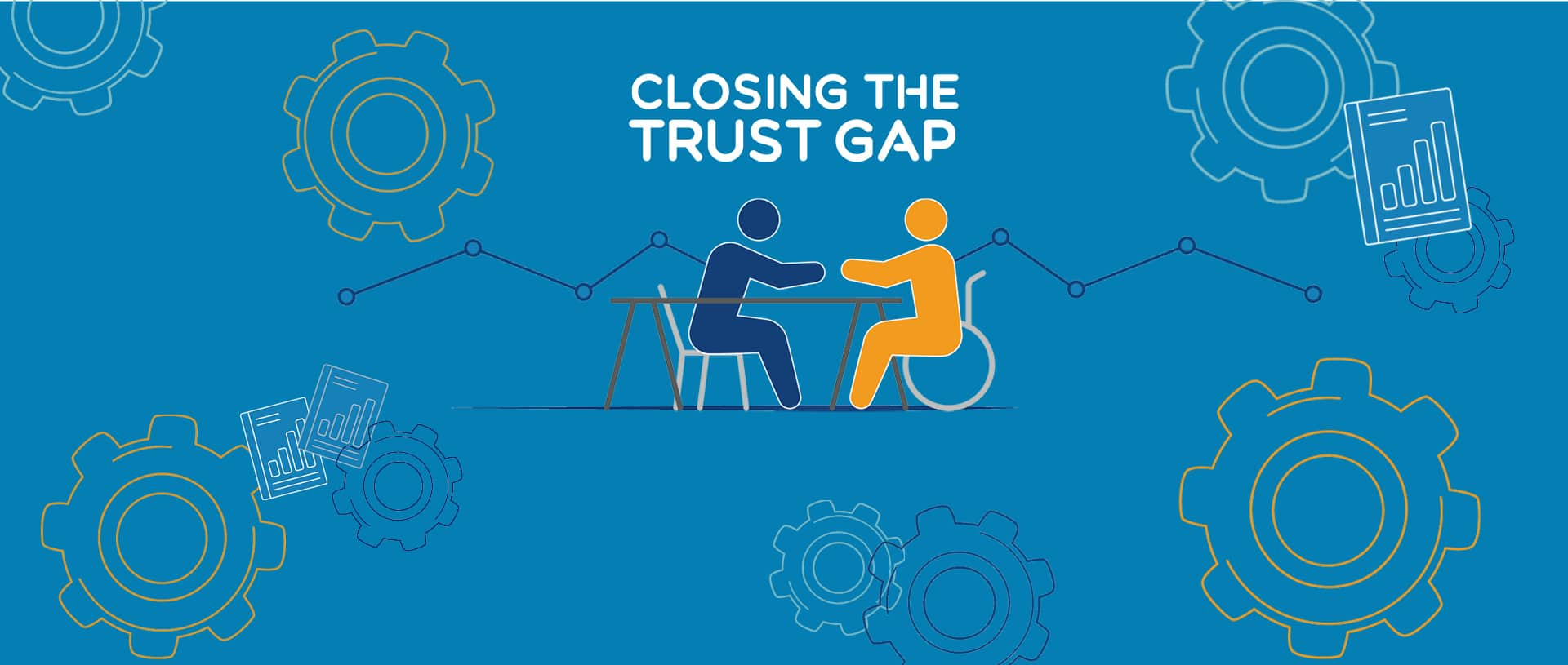Graphic of a wheelchair user shaking hands across a conference table with a colleague.