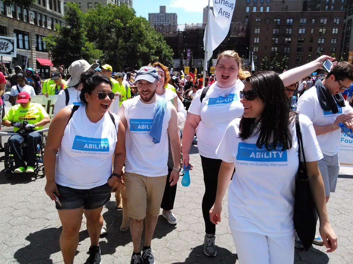 Kaitlin with NOD staff at the Disability Pride Parade in NYC