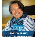 "Brochure cover featuring a headshot of a woman and NOD logo. Text reads: ""Invest in Ability"""
