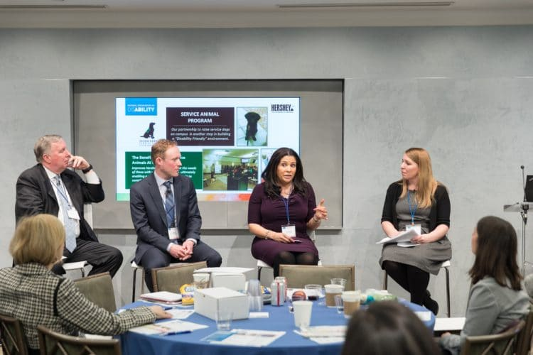 Photo of panelists from left to right: David O'Brien, Partner, Americas Brand, Marketing and Communications for EY, Peter Brown, Vice President of Design for Charter Communications, Alicia Petross, Vice President of Diversity, Inclusion & Engagement for The Hershey Company, and Sheri Klein from The Ad Council