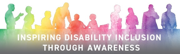 """Watercolor silhouettes of people working; title reads """"Inspiring Disability Inclusion Through Awareness"""""""