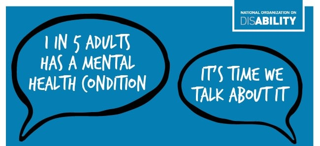 "Thought bubbles reading: ""1 in 5 adults has a mental health condition""; ""It's time we talk about it""; National Organization on Disability logo"