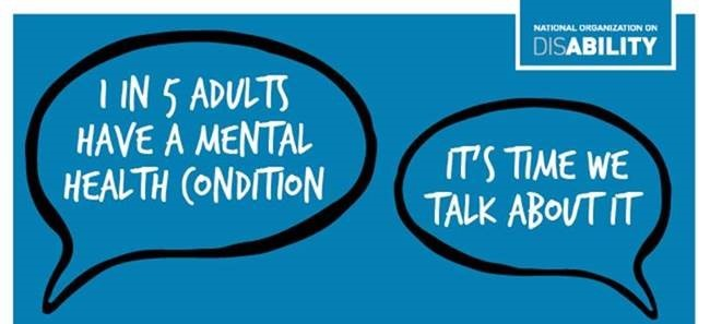 "Image reads ""One in Five Adults Have a Mental Health Condition. It's Time We Talk About It."""