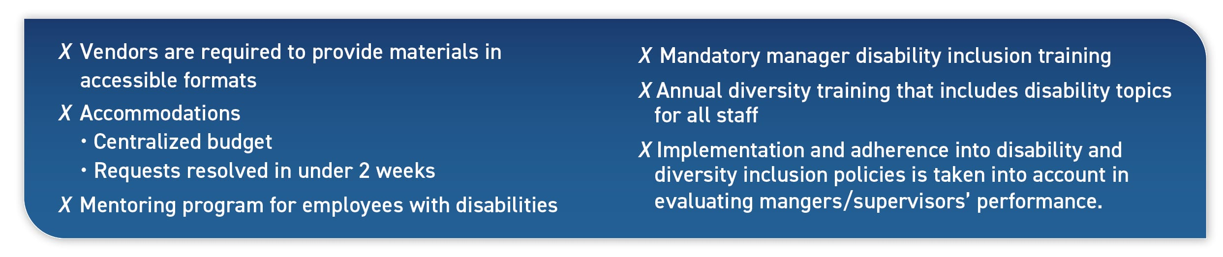 X Vendors are required to provide materials in accessible formats; Accommodations: Centralized budget, Requests resolved in under 2 weeks; Mentoring program for employees with disabilities; Mandatory manager disability inclusion training; Implementation and adherence into disability and diversity inclusion policies is taken into account in evaluating mangers/supervisors' performance.