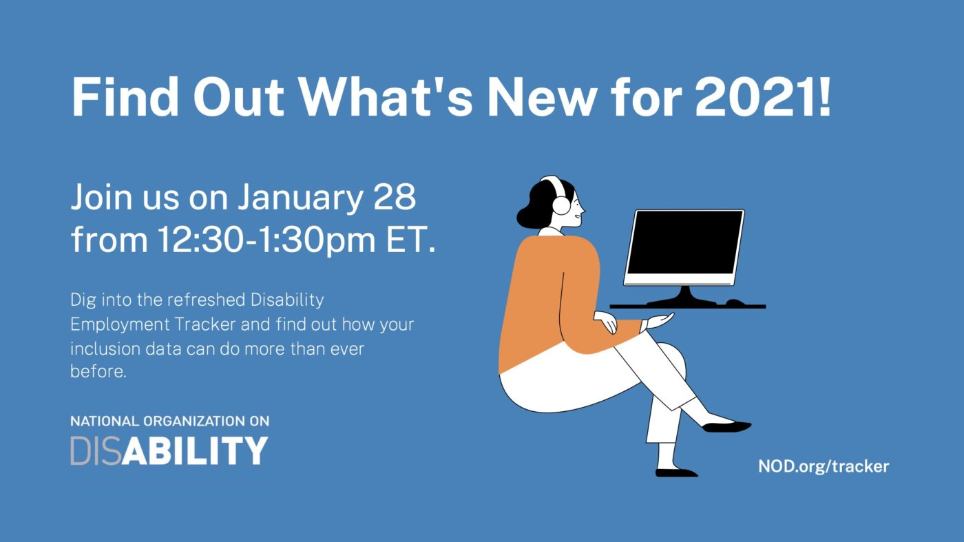 Ad for January 28th webinar from 12:30 to 1:30 pm ET. Blue background with woman sitting at desk looking at computer