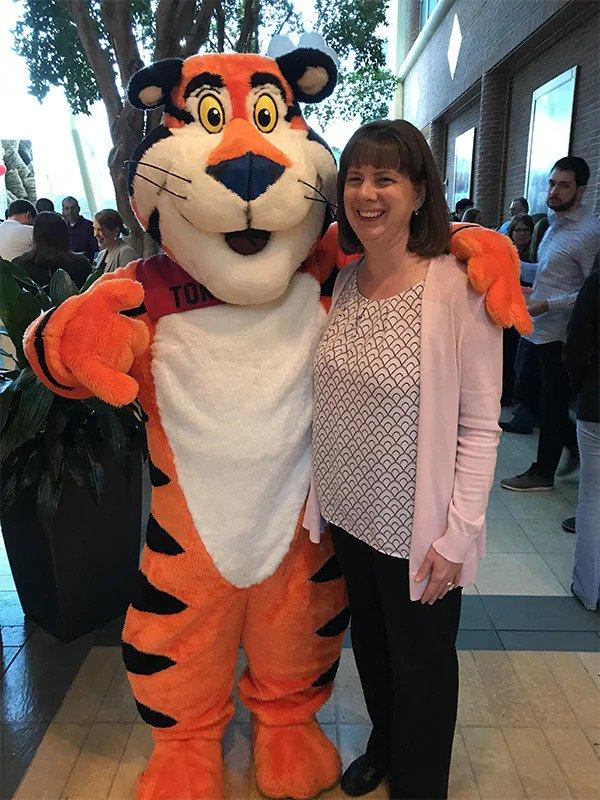 Bethany Foor with Tony the Tiger