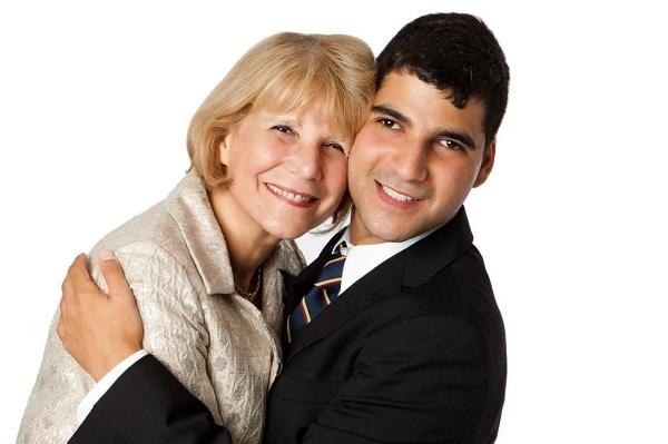 Carol Glazer hugging her son Jacob