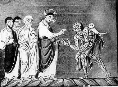 Artwork from the Middle Ages, showing healing of a leper