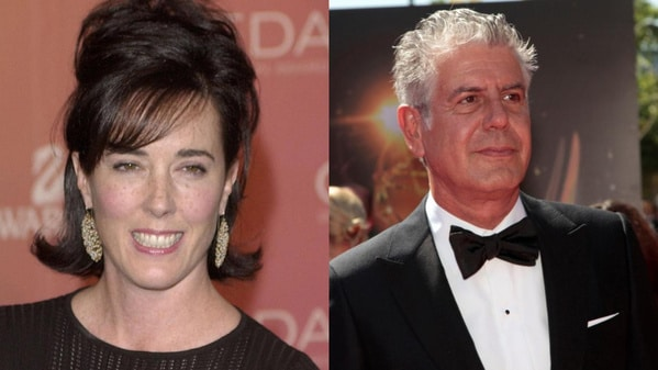 Photographs of Kate Spade at left and Anthony Bourdain at right