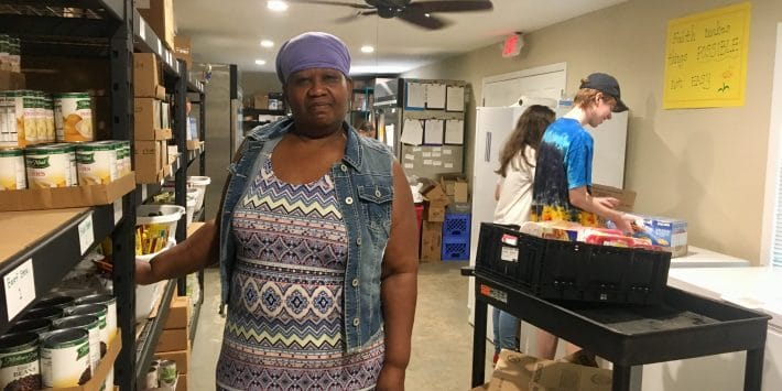 Jennifer Muschette volunteers at the Covington Food Pantry